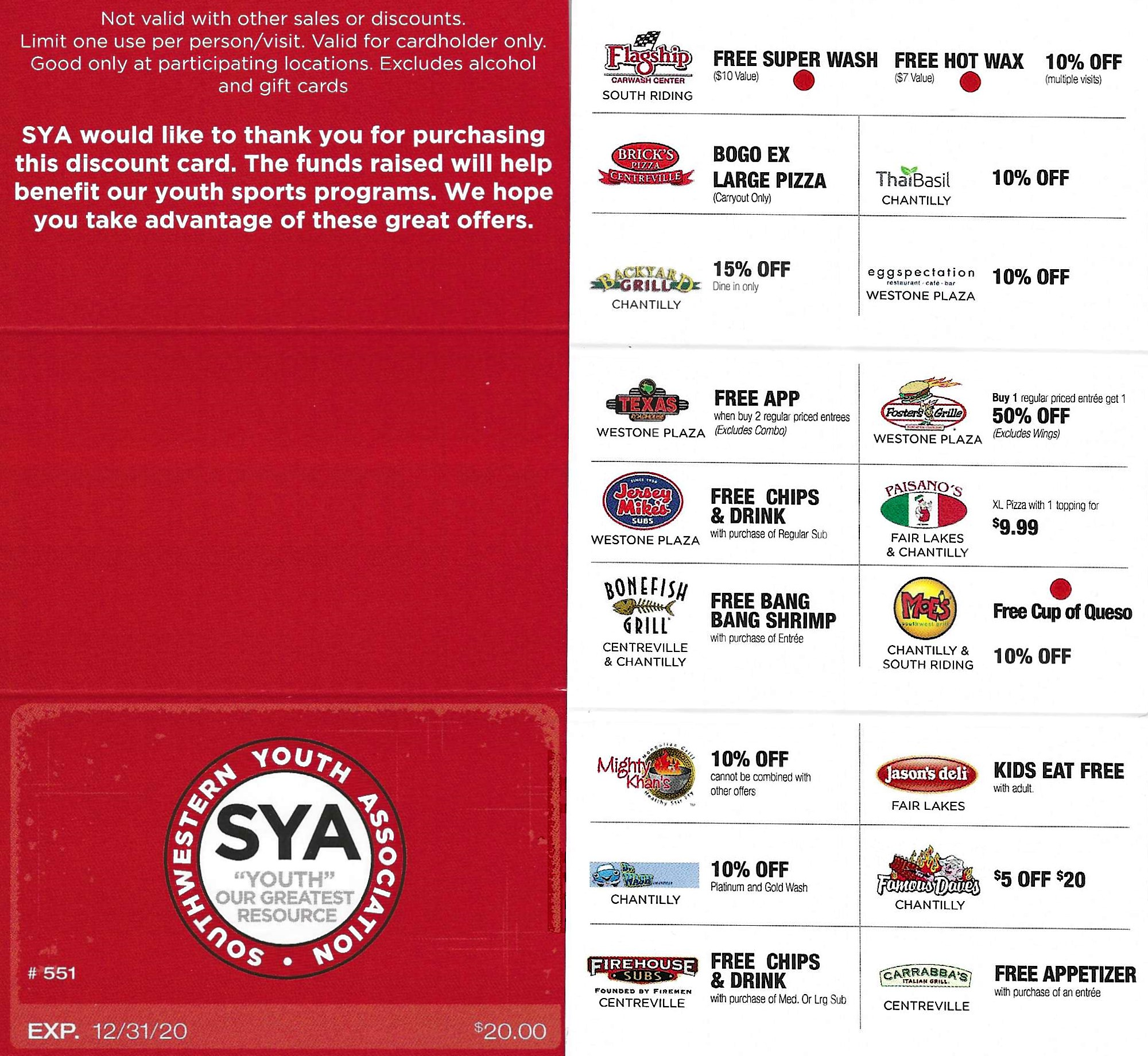 Buy Your SYA Real Deal Discount Card Today!!